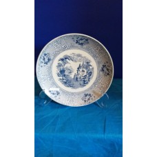 Ref. 00013 - Prato Raso 24 cm com dec. Ingles  em Azul ou Verde + suporte