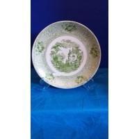 Ref. 00014 - Prato de Bolo  27cm com dec.  Inglês  em Verde + Suporte